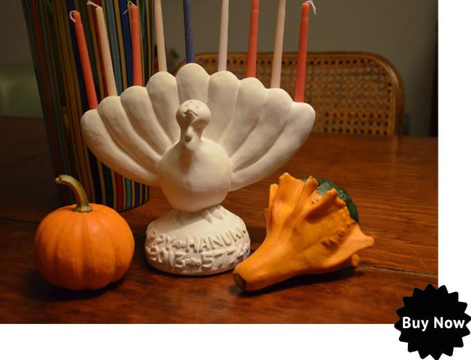 The Menurkey -- a turkey menorah. I'm sorry I didn't get it together to buy one.